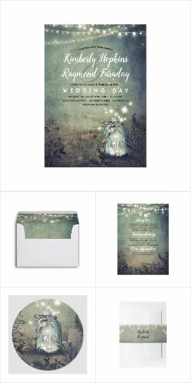 Dreamy Night Mason Jar Lights Mix and Match Wedding Invitation Set