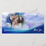 """Dreamy Ocean Sailboat Wedding Thank You Photocard<br><div class=""""desc"""">Dreams come true. Sail into the future with a little help from your friends, and be sure to thank them along the way. Nautical theme features a boat on surreal waves of deep blue sea. Clear skies ahead! Perfect artistic thanks for weddings, graduation, new home, baby shower, any event that...</div>"""
