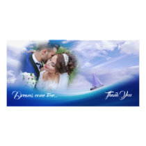 Dreamy Ocean Sailboat Wedding Thank You Photocard Card