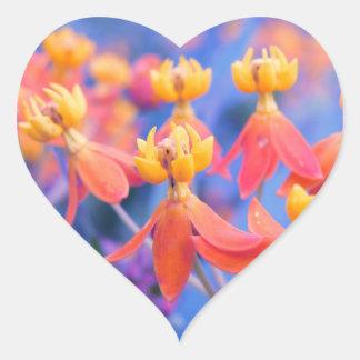 Dreamy Orange Flowers Heart Sticker
