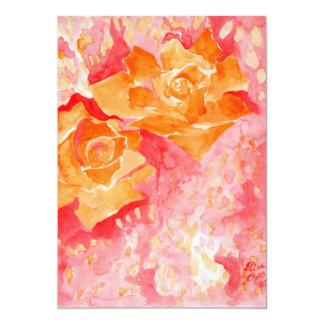 Dreamy orange pink roses card
