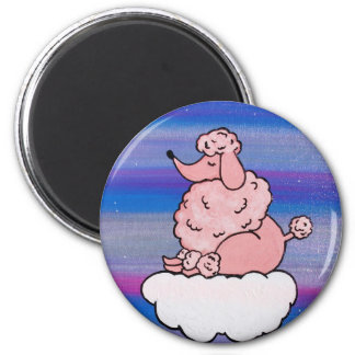 Dreamy Pink Poodle 2 Inch Round Magnet