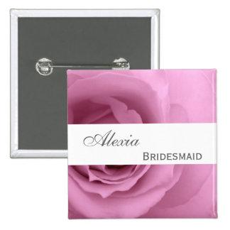Dreamy PINK Rose Custom Name Bridesmaid V2 Button