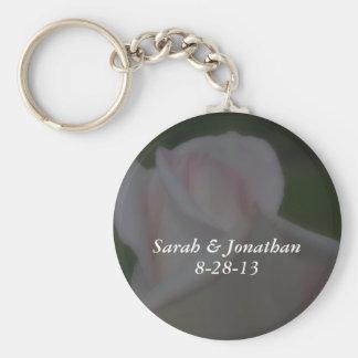 Dreamy Pink Rose Flower Wedding Keychain
