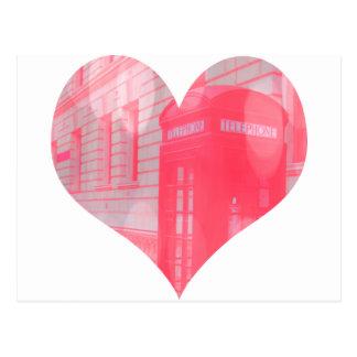 Dreamy Pink Telephone Box Postcard