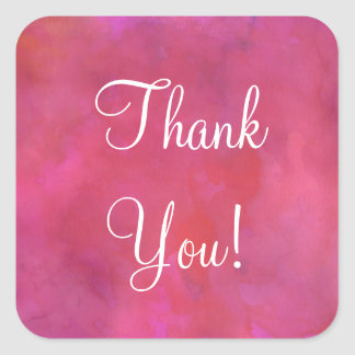 Dreamy Pink Watercolor Background Thank You Square Sticker