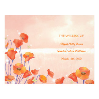 Dreamy Red Poppy Bi Fold Wedding Program