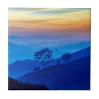 Dreamy Relaxing Landscape Painting Art Tile