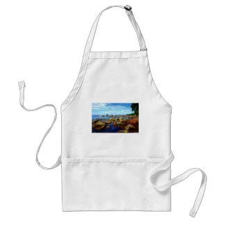 Dreamy Rocky Tropical Beach Adult Apron