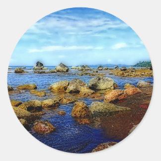 Dreamy Rocky Tropical Beach Classic Round Sticker