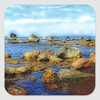 Dreamy Rocky Tropical Beach Square Sticker
