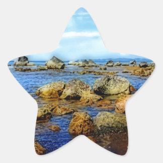 Dreamy Rocky Tropical Beach Star Sticker