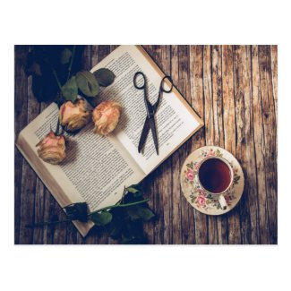 Dreamy Romantic Book Roses Tea Time Postcard