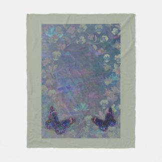 Dreamy Romantic Floral Butterfly Fleece Blanket