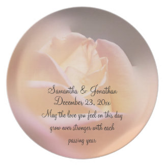 Dreamy Rose Flower Wedding Keepsake Plate