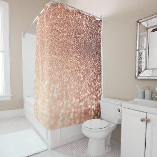 Dreamy Rose Gold Glitter   Peach Glittereffect Shower Curtain