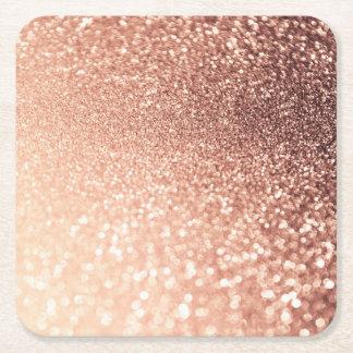Dreamy Rose Gold Glitter - Peach Glittereffect Square Paper Coaster
