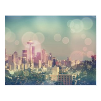 Dreamy Seattle Skyline and Space Needle Postcard