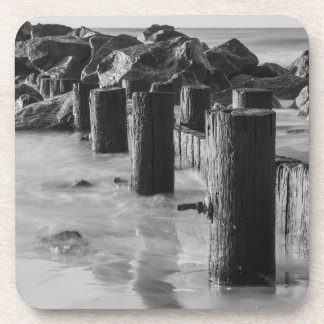 Dreamy Seawall Grayscale Beverage Coaster