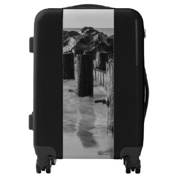 Beach Themed Dreamy Seawall Grayscale Luggage
