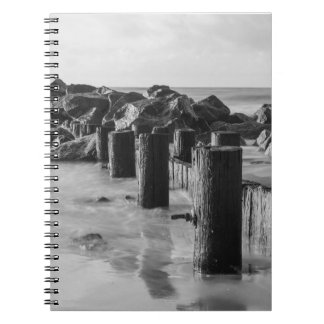 Dreamy Seawall Grayscale Notebook