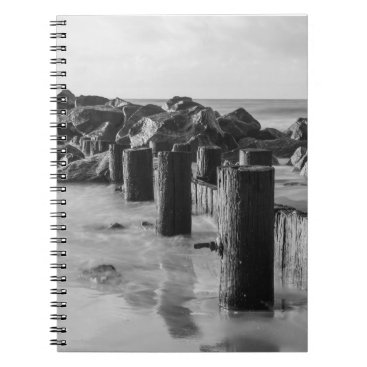 Beach Themed Dreamy Seawall Grayscale Notebook