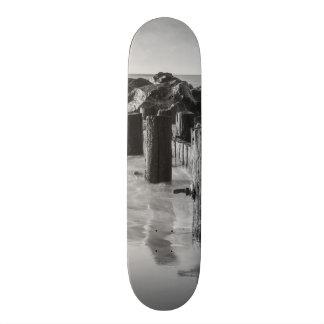 Dreamy Seawall Grayscale Skateboard
