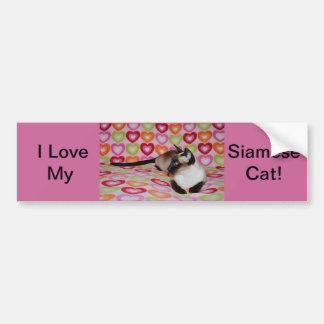 Dreamy Siamese Cat Hearts Bumper Sticker
