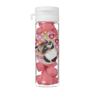 Dreamy Siamese Cat Hearts Chewing Gum Favors