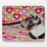 Dreamy Siamese Cat Hearts Mouse Pad