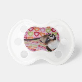 Dreamy Siamese Cat Hearts Pacifier