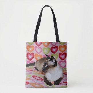Dreamy Siamese Cat Hearts Tote Bag