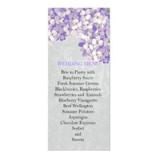 Dreamy Silver Damask Blue Hydrangea Wedding Menu Personalized Announcement