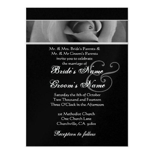 Dreamy Silver White Black Rose Wedding Template 5.5x7.5 Paper Invitation Card