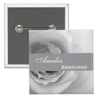 Dreamy Silver White Rose Custom Name Bridesmaid V0 Button