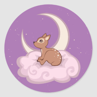 Dreamy Star Spotted Fawn In The Clouds Art Classic Round Sticker