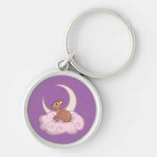 Dreamy Star Spotted Fawn In The Clouds Art Silver-Colored Round Keychain