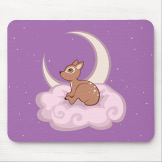 Dreamy Star Spotted Fawn In The Clouds Art Mousepad