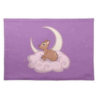Dreamy Star Spotted Fawn In The Clouds Art Cloth Placemat