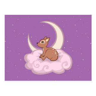 Dreamy Star Spotted Fawn In The Clouds Art Postcard