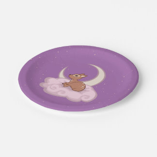 Dreamy Star Spotted Fawn In The Clouds Art 7 Inch Paper Plate