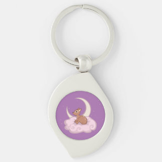 Dreamy Star Spotted Fawn In The Clouds Art Silver-Colored Swirl Metal Keychain