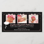 """Dreamy Stars Three Photo Baby Birth Announcement<br><div class=""""desc"""">With a sprinkling of stardust and a cloud of hearts,  your little bundle of joy is featured in three framed photos on this adorable pink,  black and white birth announcement photo card.</div>"""