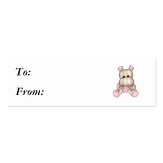 dreamy striped hippo mini business card