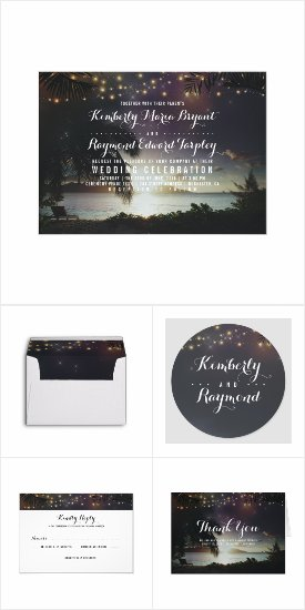 Dreamy Sunset over the Sea Summer Wedding Invitation Set