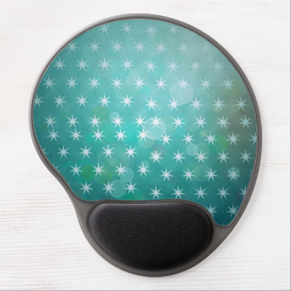 Dreamy teal background with white stars pattern gel mouse pad