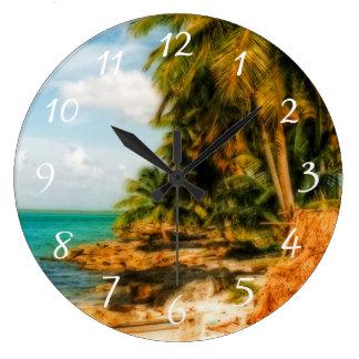 Dreamy Tropical Beach Large Clock