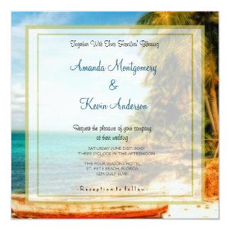 Dreamy Tropical Beach Wedding 5.25x5.25 Square Paper Invitation Card