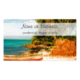 Dreamy Tropical Beach with Rowboat Business Card Templates