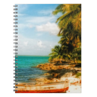 Dreamy Tropical Beach with Rowboat Notebook